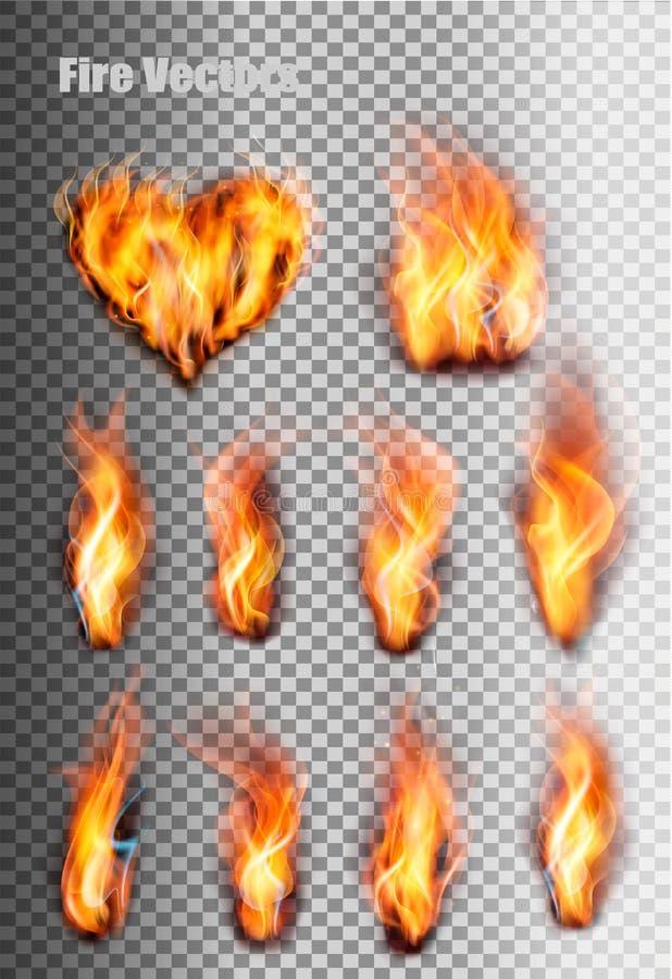 inställda brandflammor vektor illustrationer