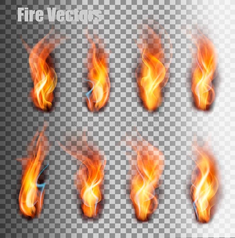inställda brandflammor vektor vektor illustrationer