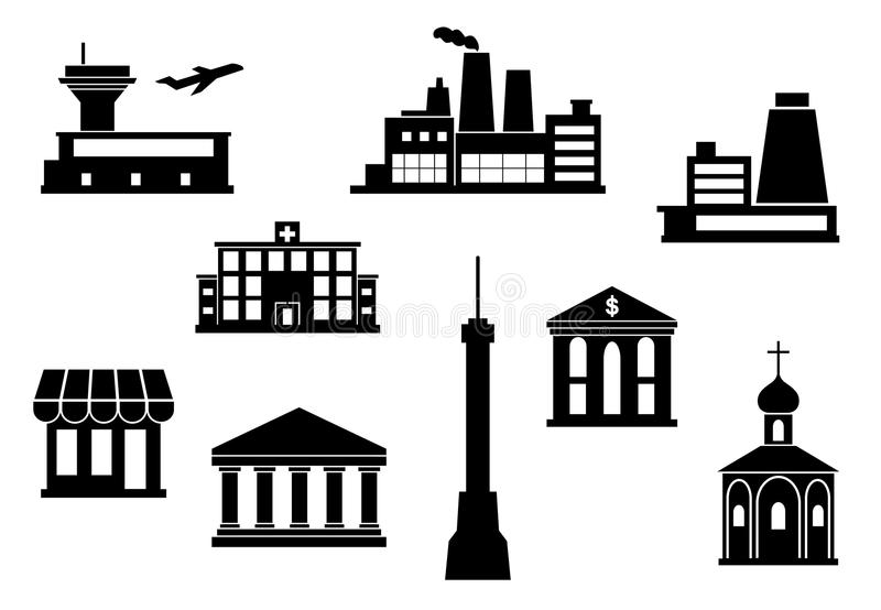 inställda byggnadssymboler vektor illustrationer