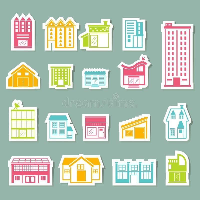 inställda byggnadssymboler stock illustrationer