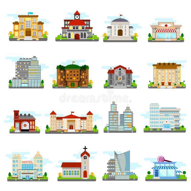 inställda byggnadssymboler royaltyfri illustrationer