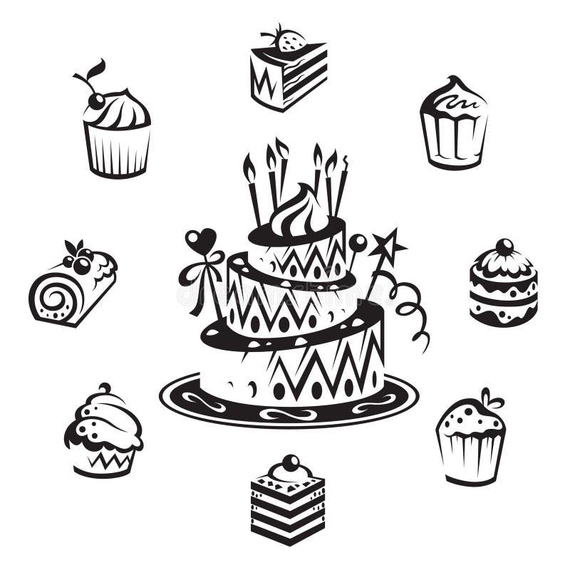 inställda cakes stock illustrationer