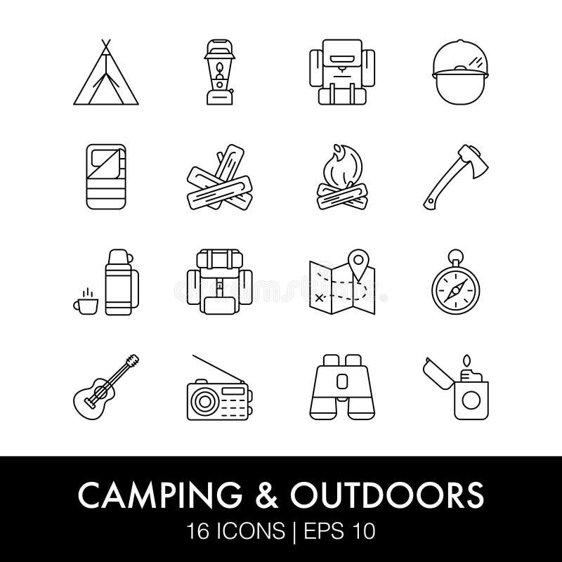 inställda campa symboler vektor illustrationer