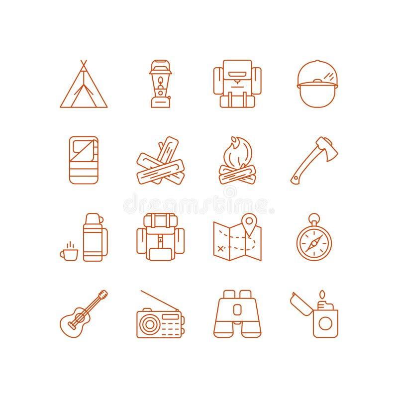 inställda campa symboler stock illustrationer