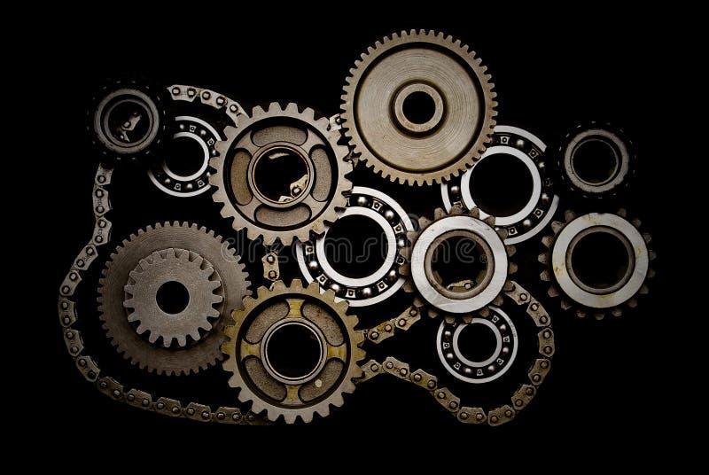 inställda chain kugghjul för kullager arkivfoto