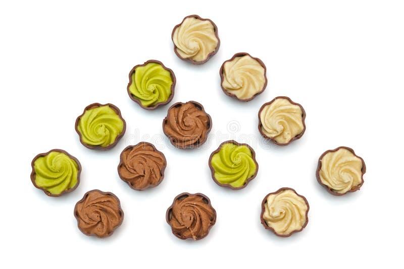 inställda choklader royaltyfria bilder