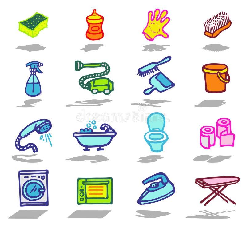 inställda cleaningsymboler royaltyfri illustrationer