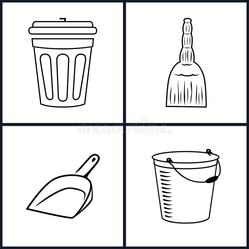 inställda cleaningsymboler stock illustrationer