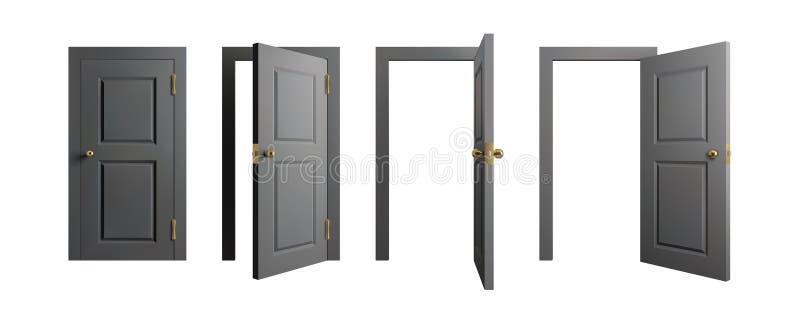 inställda dörrar Öppnad och stängd dörr för främre sikt Realistisk isolerad vektorillustration vektor illustrationer