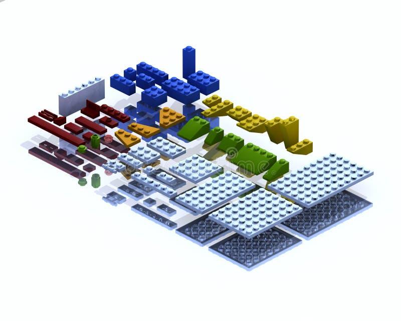 inställda delar för lego 3D royaltyfri illustrationer