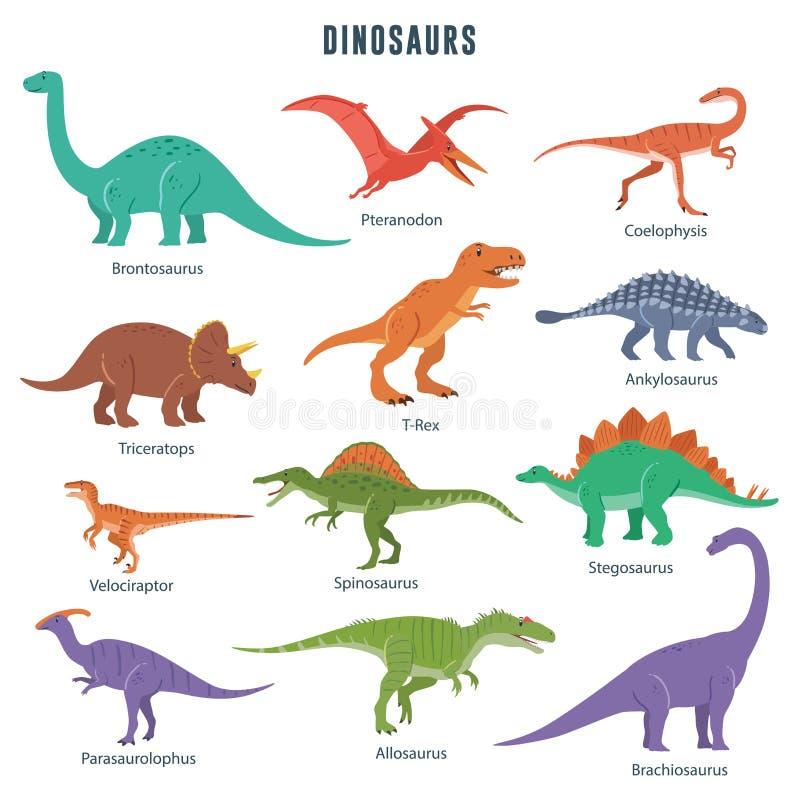 inställda dinosaurs royaltyfri illustrationer