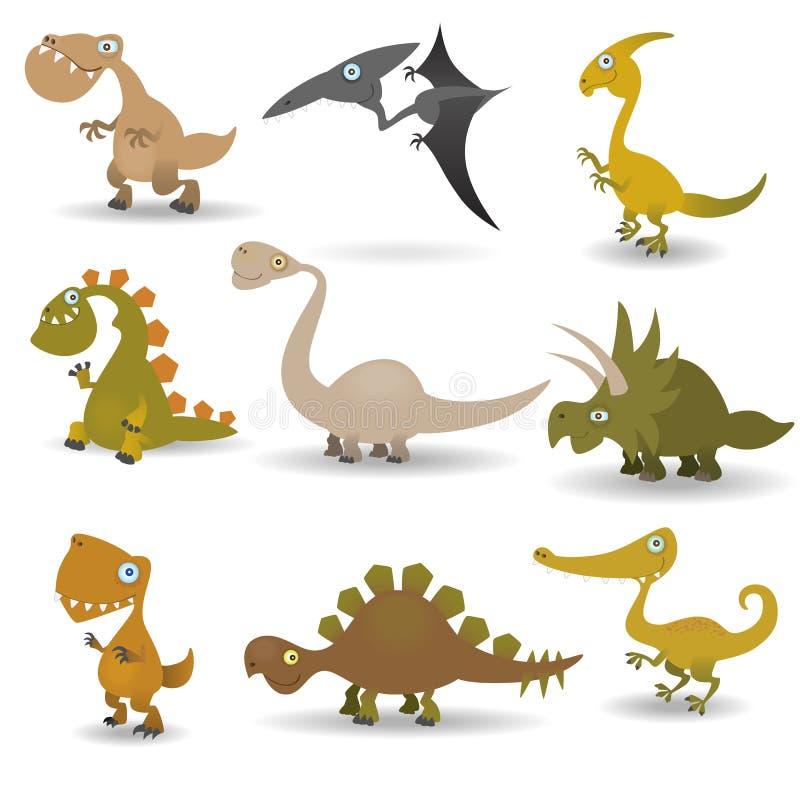 inställda dinosaurs vektor illustrationer