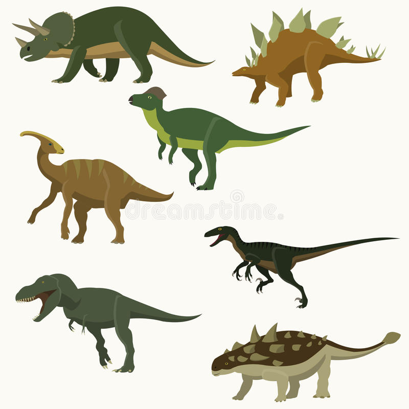 inställda dinosaurs royaltyfri illustrationer
