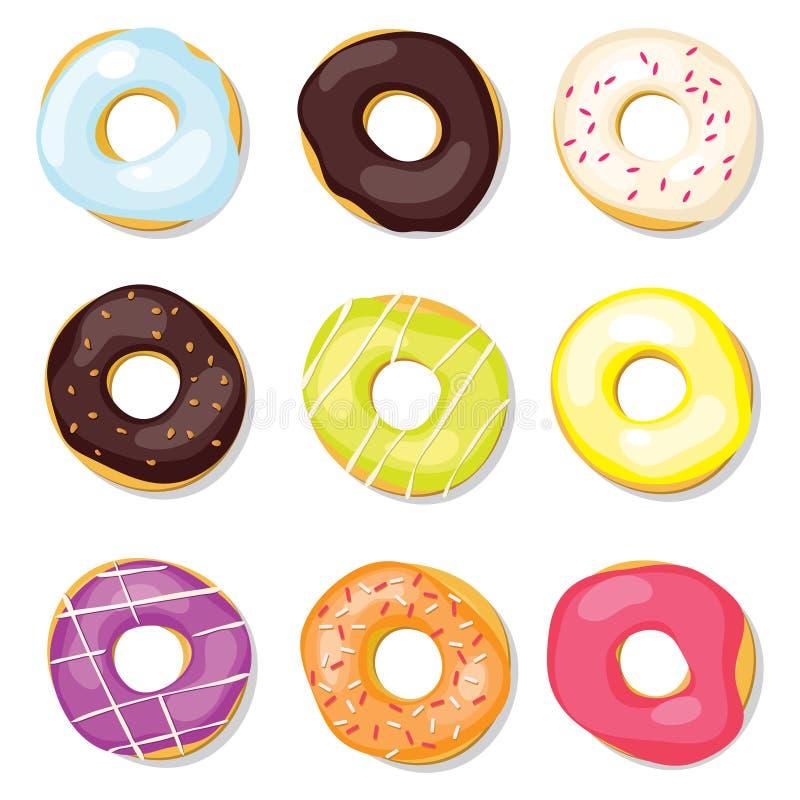 inställda donuts vektor illustrationer