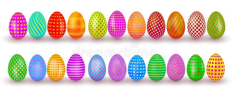 inställda easter ägg Färgrik realistisk äggdesign med modellen som isoleras på vit bakgrund också vektor för coreldrawillustratio royaltyfri illustrationer