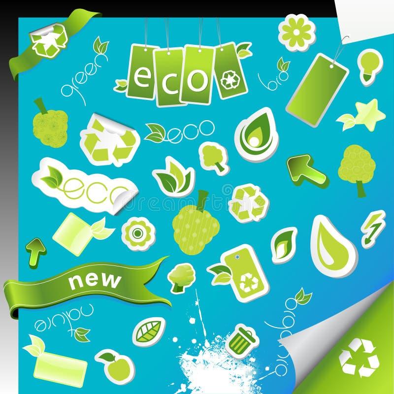 inställda ekologisymboler stock illustrationer