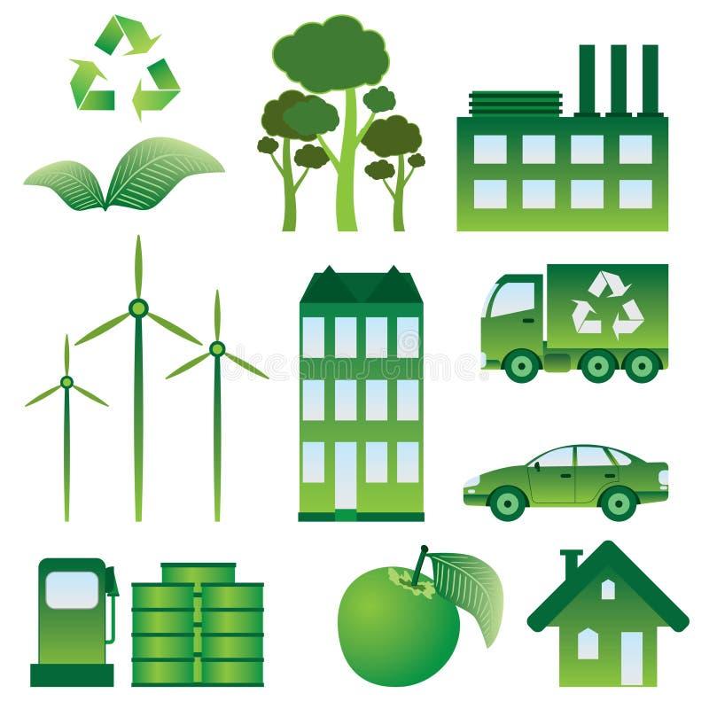 inställda ekologisymboler vektor illustrationer