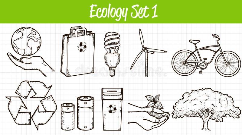 inställda ekologisymboler illustratören för illustrationen för handen för borstekol gör teckningen tecknade som look pastell till stock illustrationer