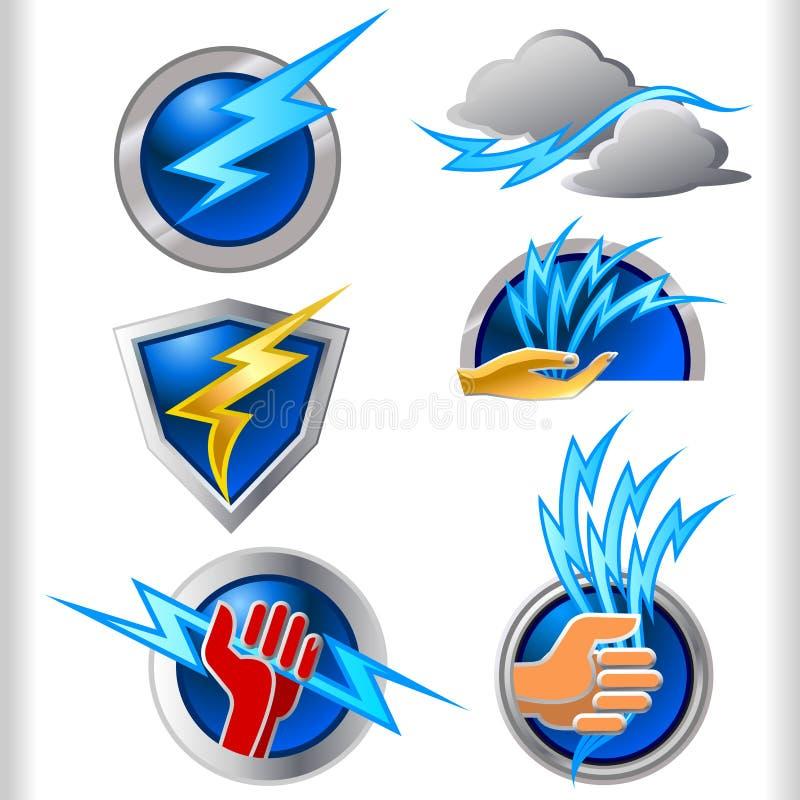 Inställda elektricitetsenergisymboler och symboler royaltyfri illustrationer