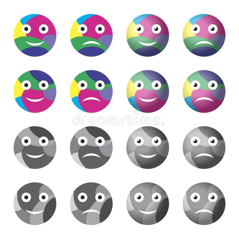 inställda emoticons stock illustrationer