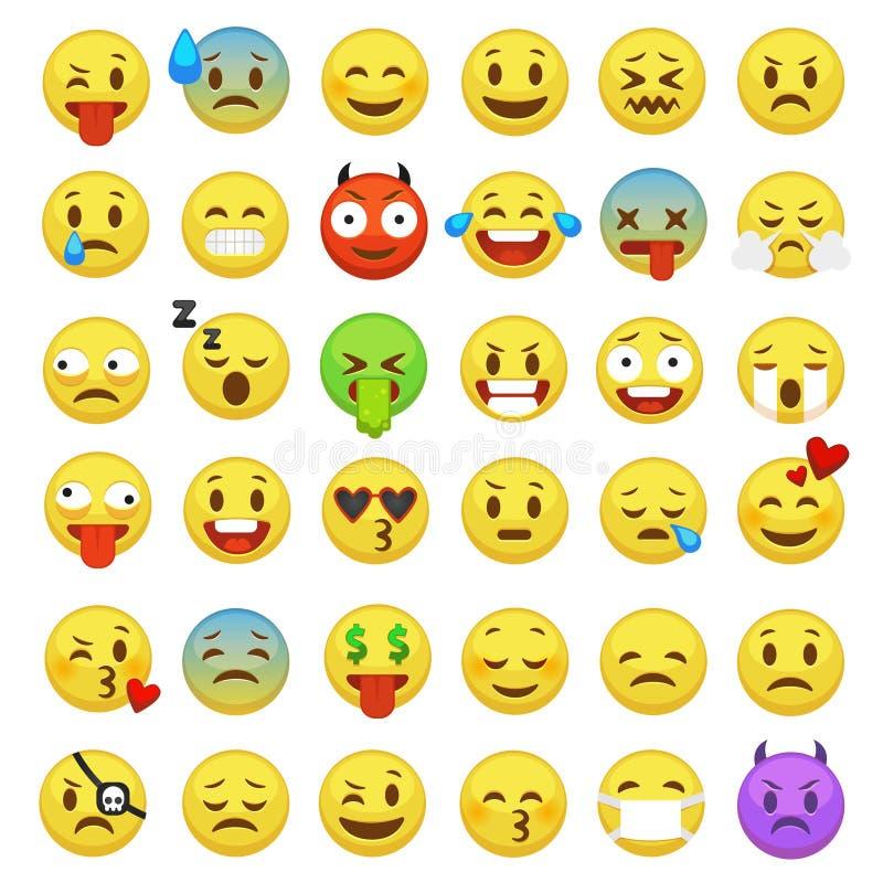 inställda emoticons Emoji vänder mot emoticonleende som roliga digitala smiley uttryckssinnesrörelsekänslor pratar budbäraren, te vektor illustrationer