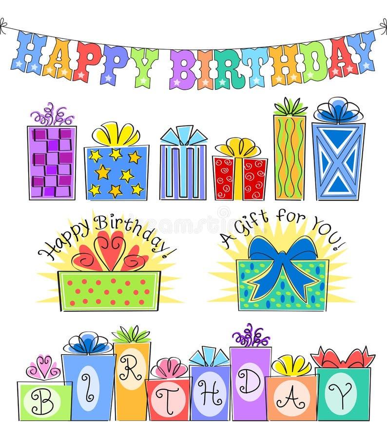 Inställda/eps födelsedagrubrik och gåva stock illustrationer