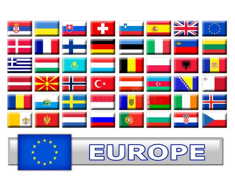 inställda europeiska flaggor för land royaltyfri illustrationer