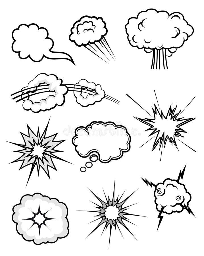 inställda explosioner royaltyfri illustrationer