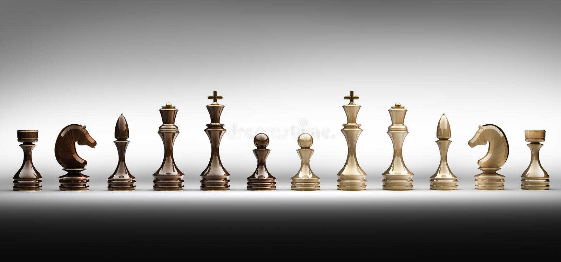 inställda färdiga stycken för schack arkivfoton