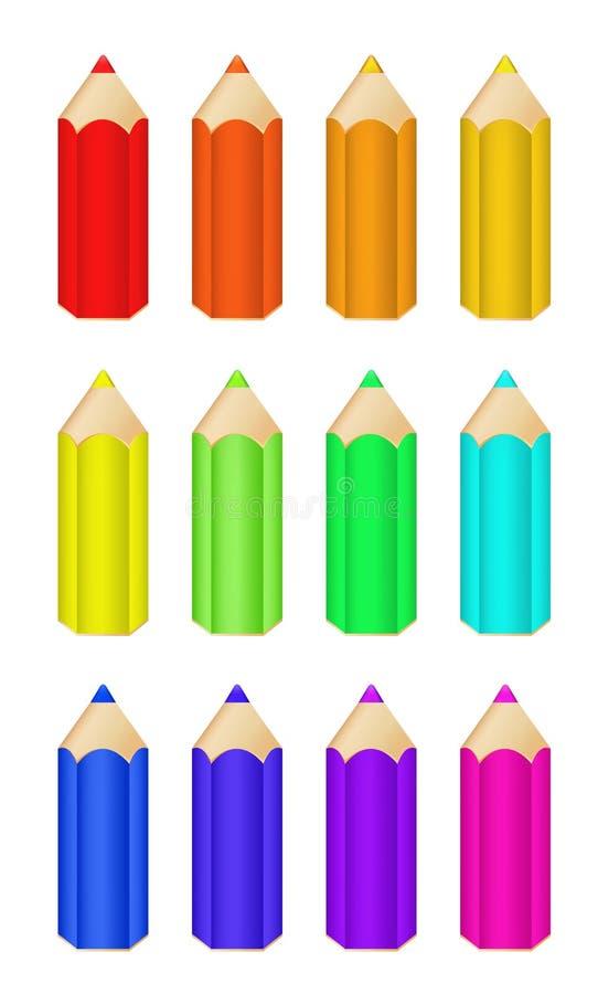 inställda färgblyertspennor royaltyfri illustrationer