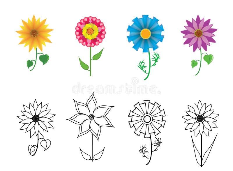 inställda färgrika blommor royaltyfri illustrationer
