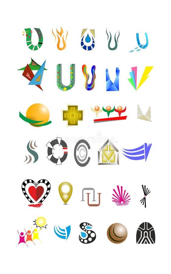 inställda färgrika logoer royaltyfria bilder