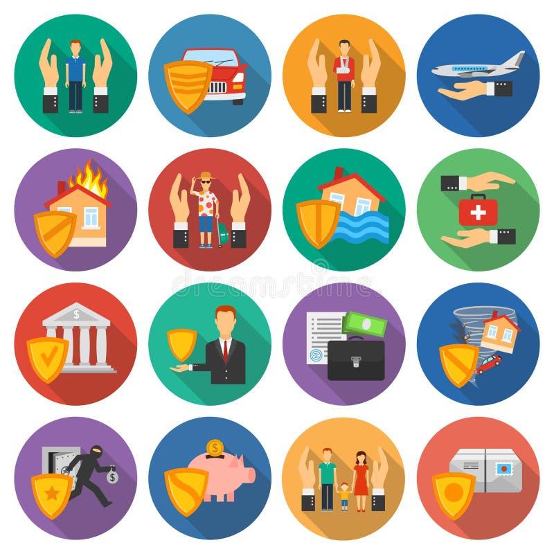 Inställda försäkringsymboler stock illustrationer