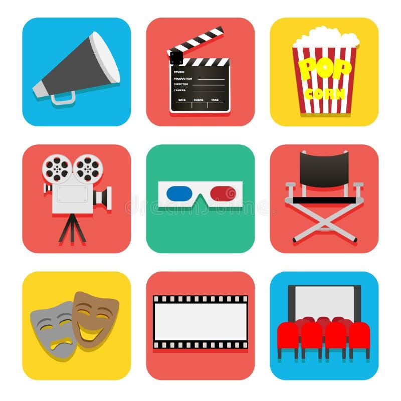 Inställda filmsymboler royaltyfri illustrationer