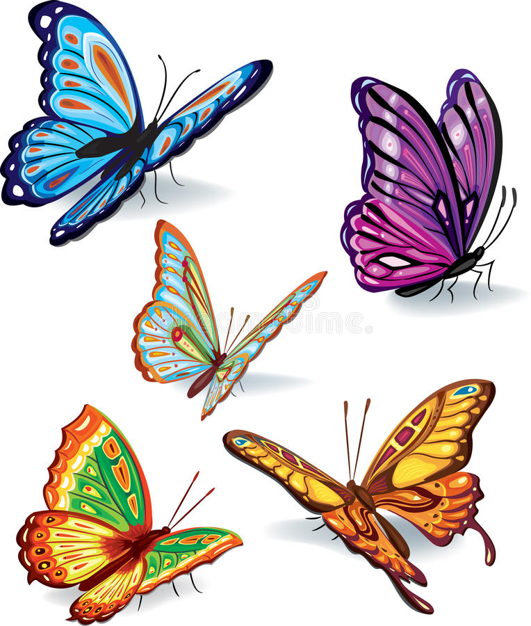 inställda fjärilar royaltyfri illustrationer
