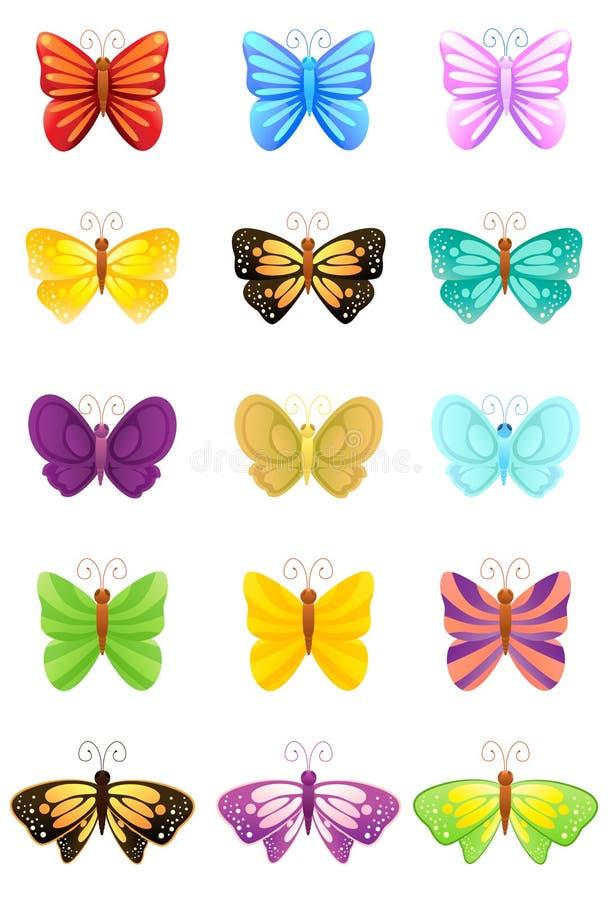 inställda fjärilssymboler vektor illustrationer