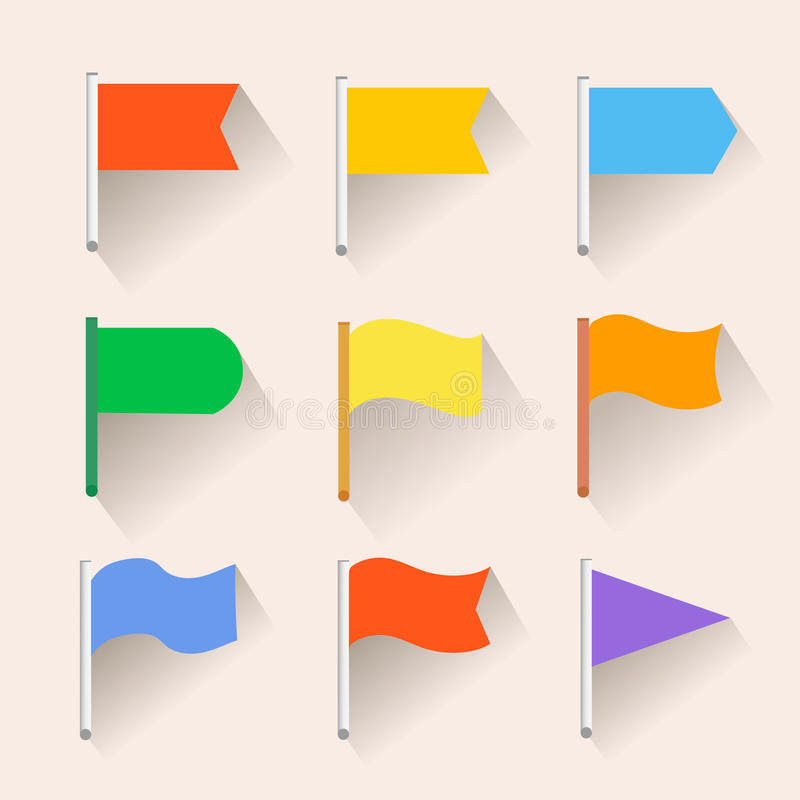 inställda flaggasymboler Plan stil stock illustrationer
