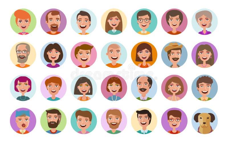 Inställda folksymboler Avatarprofil, olika framsidor, socialt nätverk, pratstundsymbol Stil för lägenhet för tecknad filmvektoril stock illustrationer