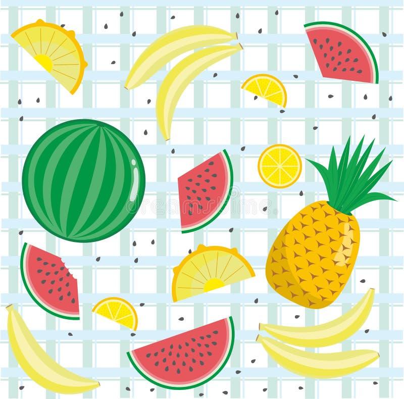 Inställda fruktsymboler stock illustrationer