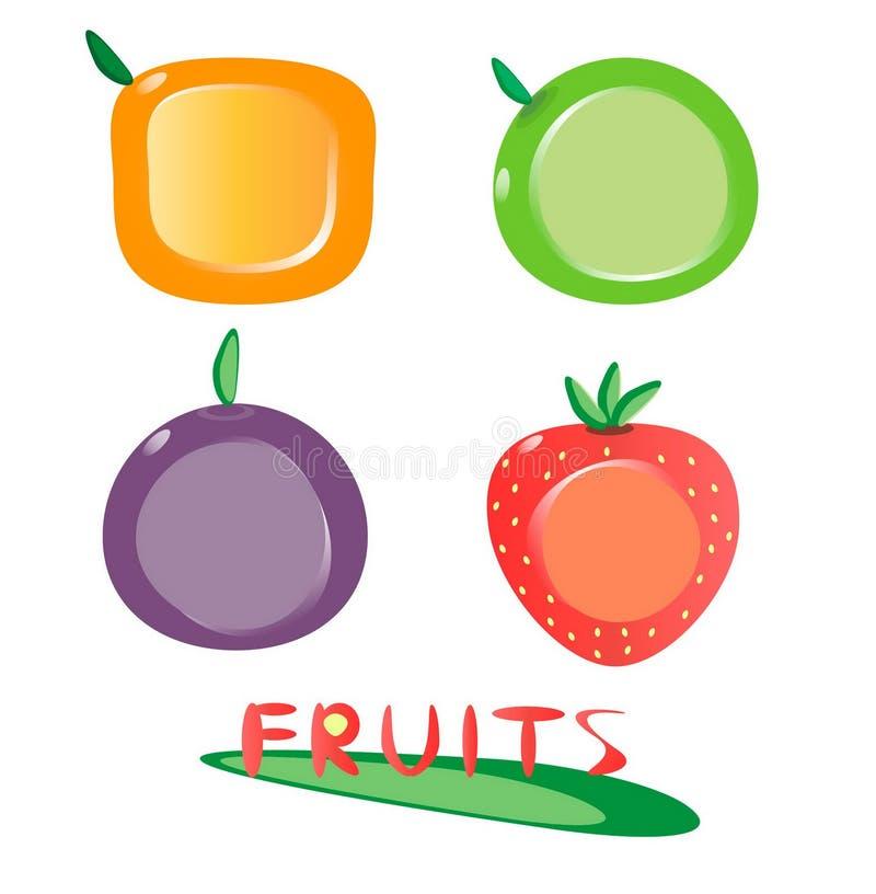 inställda fruktsymboler royaltyfria bilder