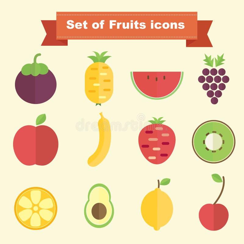 inställda fruktsymboler vektor illustrationer