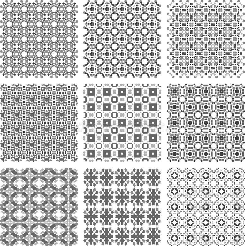 inställda geometriska monokromma modeller stock illustrationer