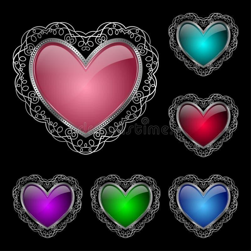 inställda glansiga hjärtor royaltyfri illustrationer