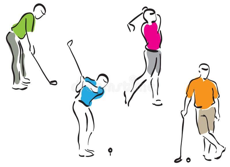 inställda golfmän royaltyfri illustrationer