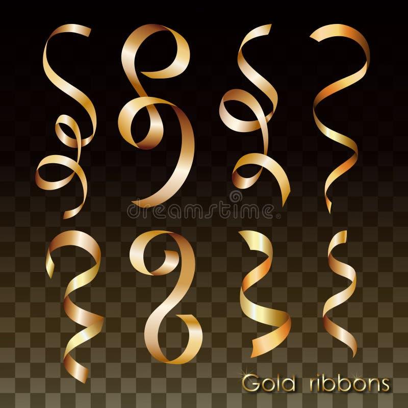 inställda guldband Lockiga remsor för designinbjudningar, garneringar, festliga illustrationer vektor illustrationer