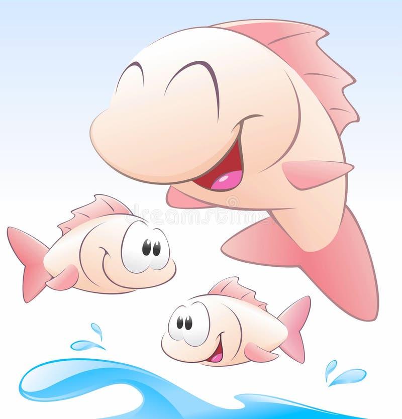 inställda gulliga fiskar för tecknad film royaltyfri illustrationer