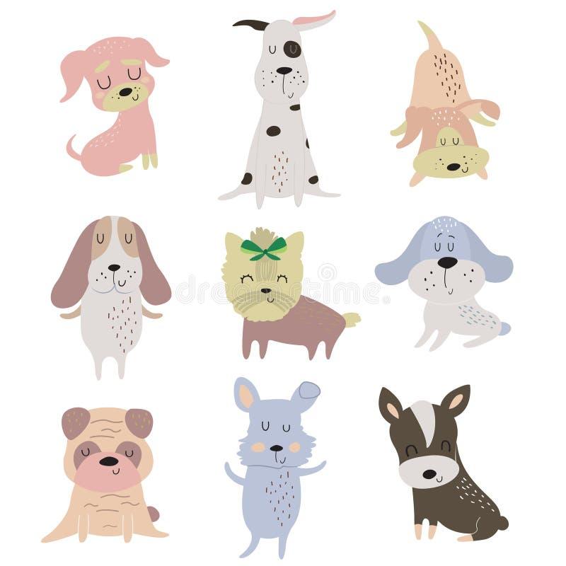 inställda gulliga hundar vektor illustrationer