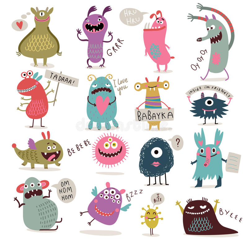 inställda gulliga monster stock illustrationer