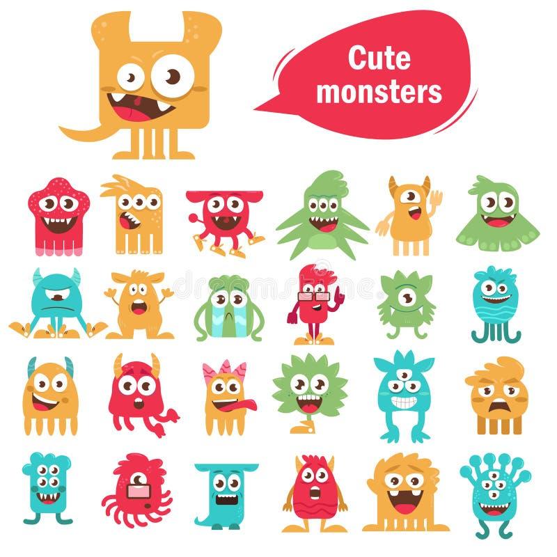 inställda gulliga monster royaltyfri illustrationer