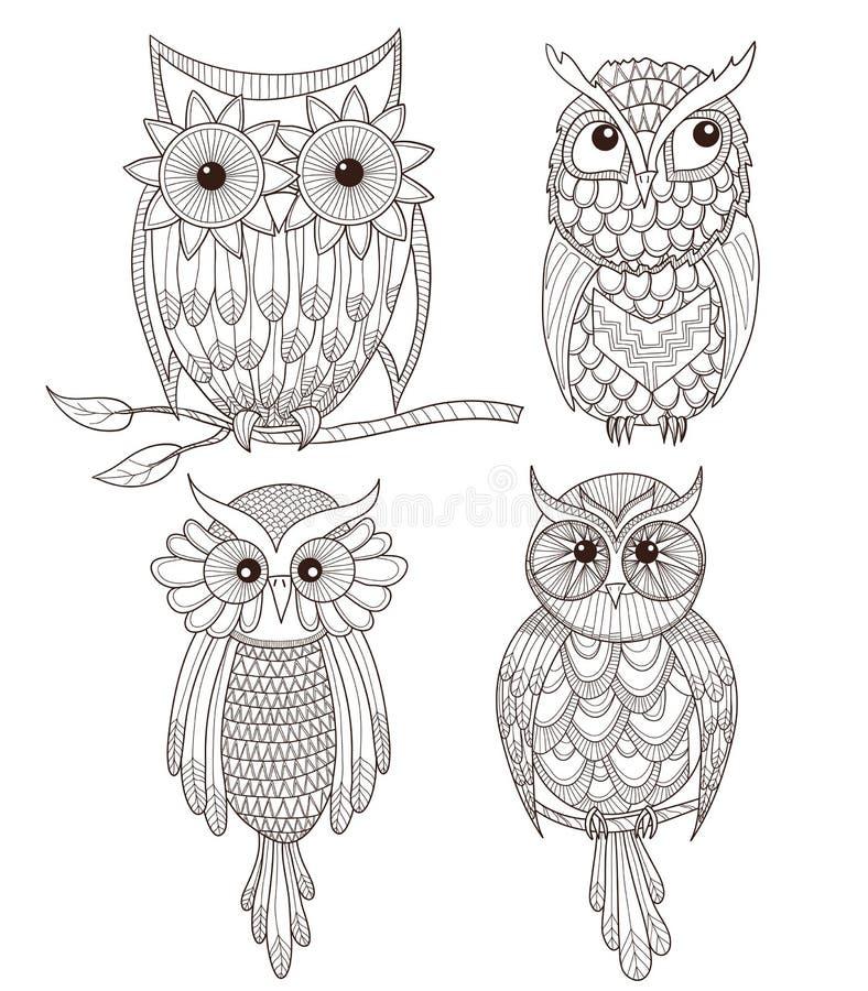 inställda gulliga owls stock illustrationer